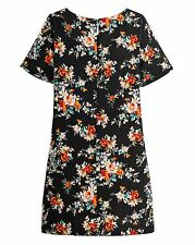 Label Be Black Floral Print Short Sleeve Shift Dress BNWT RRP £38.99 Size 12 Uk