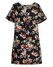 Label Be Black Floral Print Short Sleeve Shift Dress BNWT RRP £38.99 Size 12 Uk