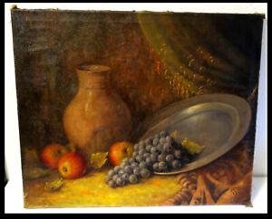 Orig altes Obst Ölgemälde Signiert: A von Bergen um 1910 Öl Leinwand Wein Äpfel
