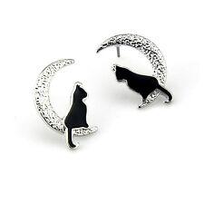 Boucles d`Oreilles Clous Argenté Puces Chat Noir Lune Leger Mignon Animal NN1