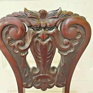 🔥 Antique Gothic Greenman Devil Carved Mahogany Medieval Arm Chair With Label🔥