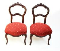 A pair of Victorian Carved Mahogany Balloon Back Chairs - FREE Shipping [PL649]