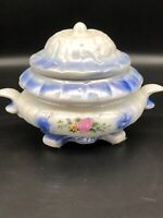 Hand painted German Porcelain Covered Biscuit Jar Blue With Pink Flower