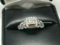 2.00 Ct Princess Cut Diamond Halo Engagement Wedding Ring 14k White Gold Over