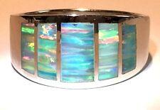 9 Men's Window Band Blue Sea Green FIRE Opal Ring Sterling Silver 925 S UK