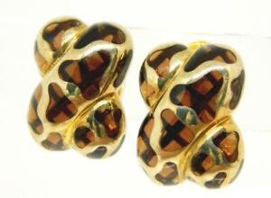 AP ANGELIQUE De PARIS Jungle Resin Caramel Pierced Clip Earrings MSRP $255.00