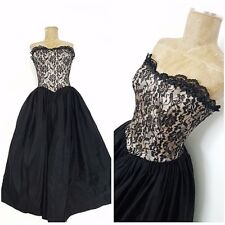 Vintage 80s Gunne Sax Pinup Party Dress Size Small Prom Lace Black Formal Prom