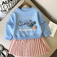 2pcs Toddler Kids Baby Girls Autumn Outfits Clothes Sweater Tops+Skirt Dress Set