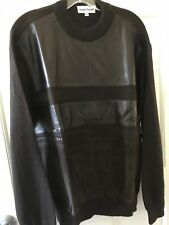 EUROPEAN STYLE KNIT SWEATER, LEATHER+SUEDE PANELS/ACCENTS, SIZE XL, DEEP BROWN