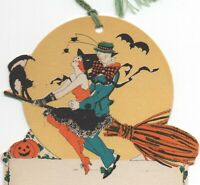 Vintage Halloween Tally Card Rare Witch Couple Broom Pumpkin Black Cat Bat RARE