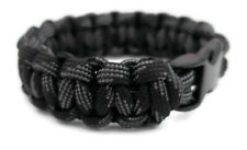 "Paracord Bracelet 550 Black Tactical 3/8"" Buckle (Touch of Grey) Hand Made"