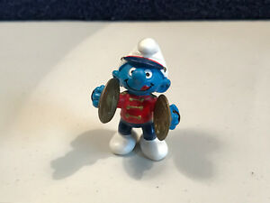 Smurfs 20495 Cymbals Smurf Marching Band Figure Rare Vintage PVC Toy Figurine