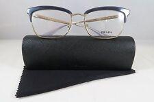 Prada VPR 08S UEE-1O1 Blue on Gold New Authentic Eyeglasses 53mm w/Case