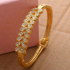New Women Lady Gold Filled Bangle Diamante Cuff Bracelet Style Jewelry For Gift
