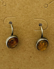 """Vintage Delicate Sterling Silver AMBER Stone EARRINGS Un-Marked 3/8"""" Long"""