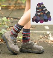 Winter Warm Boot Socks Retro Fair Isle Design Quality Cotton Mid Length Regular