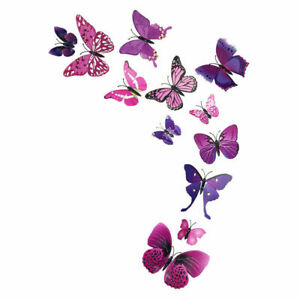 3D Magnetic Butterfly Wall Stickers Art Decals Home Decorations Room Decor 12pcs