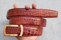Red Brown Genuine Alligator, CROCODILE Leather Skin Men's Belt #LT309