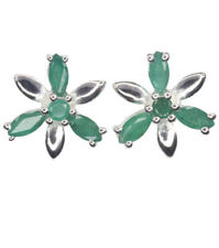Emerald Stud Natural Sterling Silver Fine Earrings