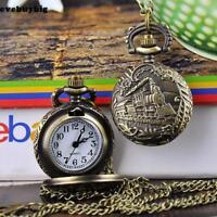 Vintage Bronze Retro Pocket Watch Quartz Train Necklace Pendant Men Lady Gift