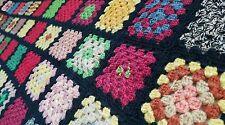 Granny Squares Multi-Color Crochet Afghan Quilt 71 x 38 Blanket Vintage
