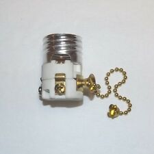 PORCELAIN PULL CHAIN LAMP SOCKET INTERIOR WITH BRASS CHAIN NEW 48210JB