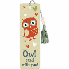 Owl Read With You Premier Bookmark NEW Cute Hearts Owl Reading With You