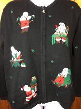 Talbots Christmas Sweater Zip Front Cotton Black Santa Workshop medium