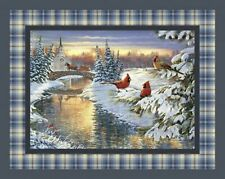Winter Home for the Holidays Cardinals Quilt Top Wall Hanging Panel Fabric