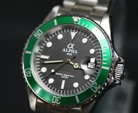 Alpha Submariner Watch Black Dial Green bezel Miyota Movement Limited addition