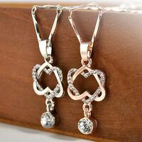 Women Lady Rhinestones Jewelry Double Heart Choker Chunky Pendant Necklace Chain