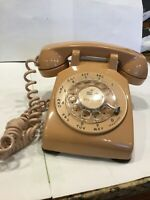 Vintage Beige Rotary Dial Desk Phone Bell System Western Electric Working 500 DM