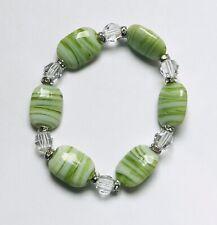 Stunning Striped Italian Glass & Crystal  Bracelet