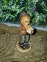 "M I HUMMEL GOEBEL ""SERENADE"" BOY PLAYING HORN #85/0 TMK2 FULL BEE 4 3/4 REPAIRED"
