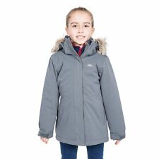 Trespass Gardenia Girls Waterproof Parka Jacket with Fur Hood in Grey