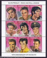 Elvis Presley 15th anniversaire non montés Comme neuf STAMP SHEET from St. Vincent