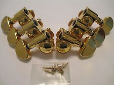 Grover 18:1 Gold Rotomatic Tuners 3+3 with screws, bushings, and washers.