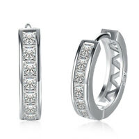 Pave Huggie Earrings in 18K White Gold with Swarovski Crystals ITALY