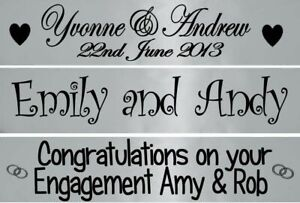 Personalised 80cm Banner: Silver - Engagement, Wedding, Christening, Baby Shower