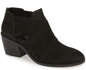$250 - Eileen Fisher Walt Black Leather Cross Strap Bootie Size 7