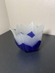 Partylite Indigo Blossom Frosted Glass Votive or Tea Light Candle Holder