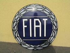 Emailschild FIAT Schrift weiss Blauer Hintergrund Blau Rund 50cm gekrümmt