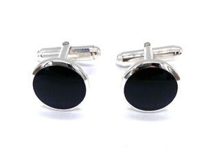 925 Sterling Silver Round Black Onyx Stone Swivel Link Cufflinks T Bar