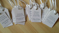 Personalised White Wedding Favour Tags Packs 10,25,50-Vintage Luggage Label