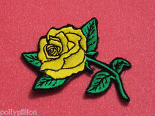 YELLOW ROSE FLOWER CRAFTWORK DRESS MAKING EMBROIDERED SEW/IRON ON PATCH:-YELLOW