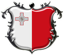4 X MALTESE MALTA SHIELD GLOSS LAMINATED VINYL STICKER 50MM BY 43MM