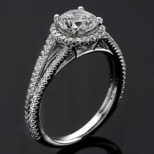 1.23 CT ROUND CUT DIAMOND HALO ENGAGEMENT RING 14K WHITE GOLD