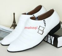 Mens pointy toe buckle strap dress formal loafer shoes Casual New black white