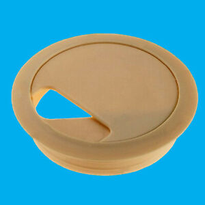 2x 80mm Beige Computer Desk Table Grommet Cable Tidy Port Wire Hole Cover