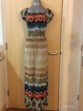 BL FASHION, SIZE SMALL - MEDIUM MULTI COLOURED CAP SLEEVE MAXI DRESS, PRE-LOVED